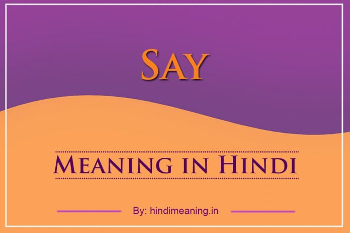 Say Meaning in Hindi