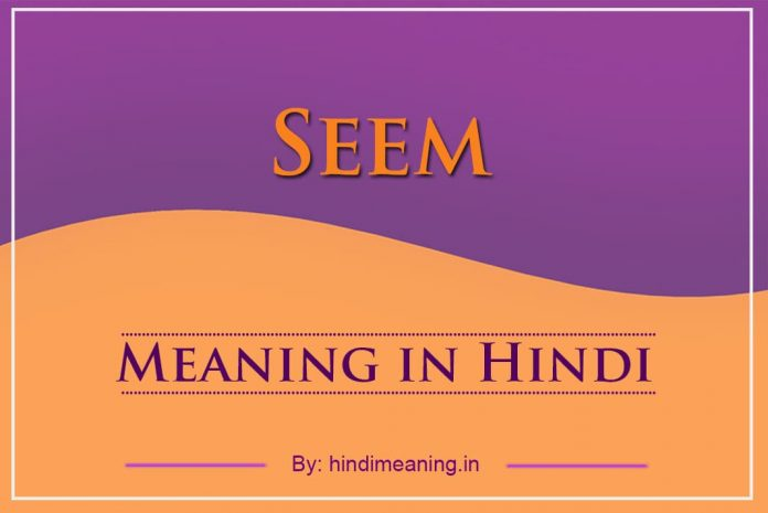 Seem Meaning in Hindi